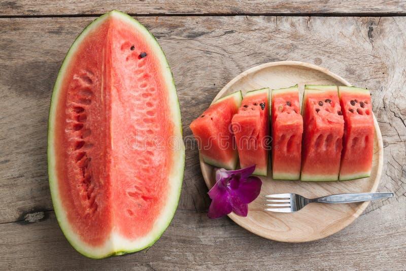 Gesneden zoet watermeloenen royalty-vrije stock afbeeldingen