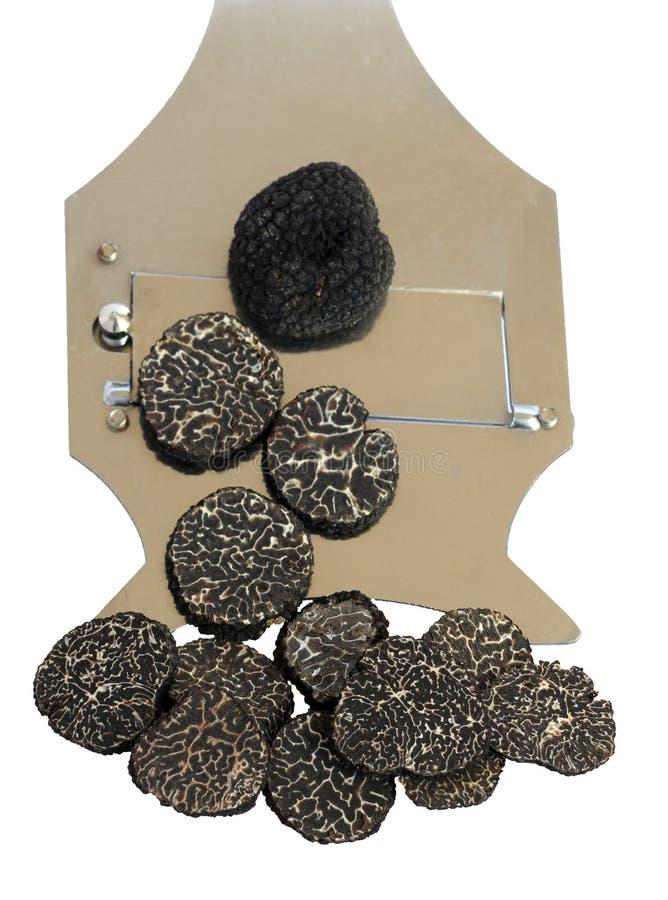 Gesneden zwarte truffes stock afbeelding