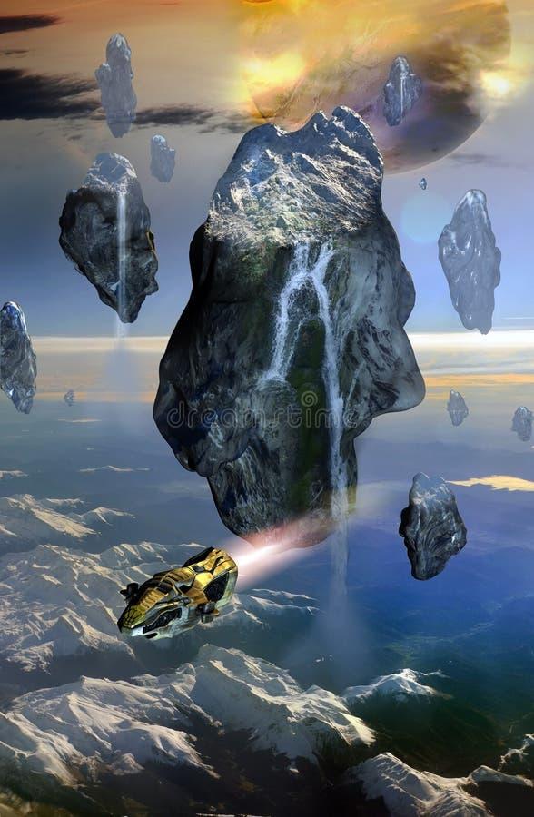 Gesneeuwde drijvende rotsen royalty-vrije illustratie