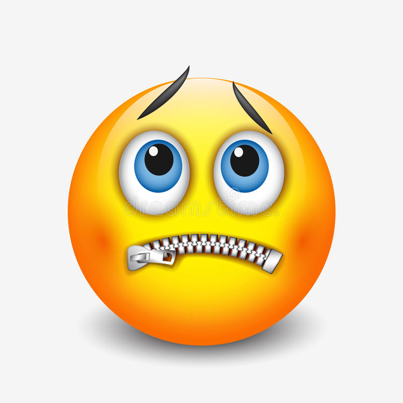 Gesnelde mondsmiley, emoticon, emoji - vectorillustratie vector illustratie