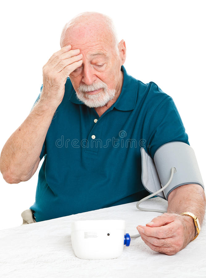 Gesorgt um hohen Blutdruck lizenzfreies stockbild