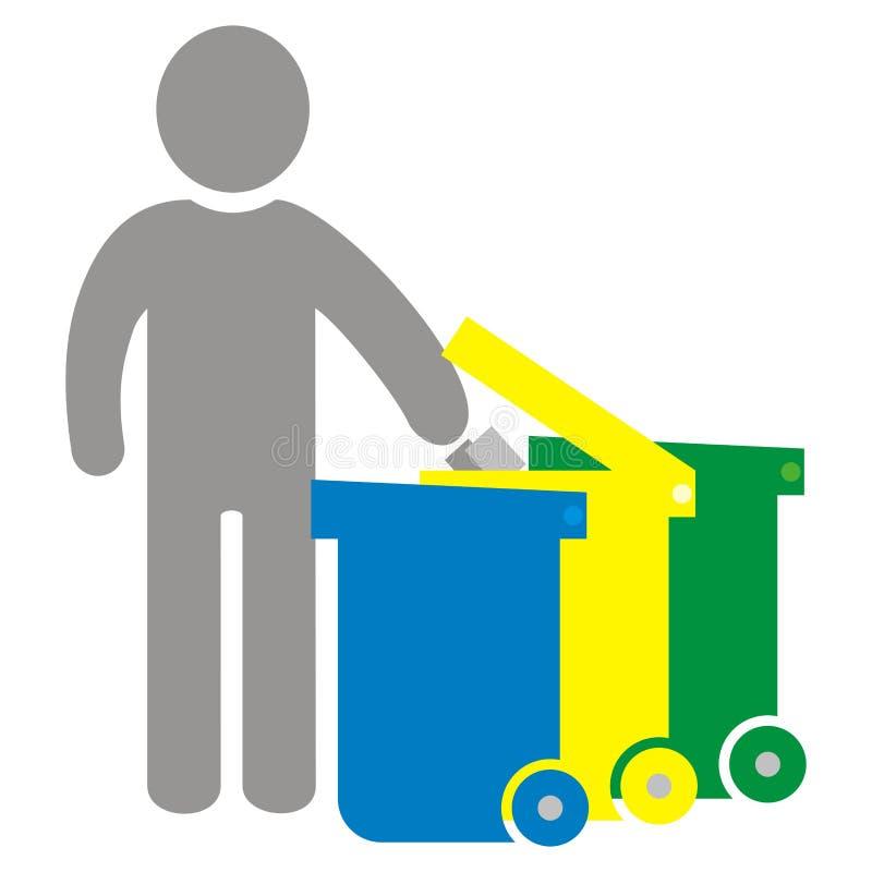 Gesorteerd afval, persoon en drie afvalblikken, vectorpictogram vector illustratie