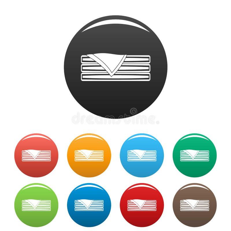 Gesorteerde handdoekpictogrammen geplaatst kleur stock illustratie