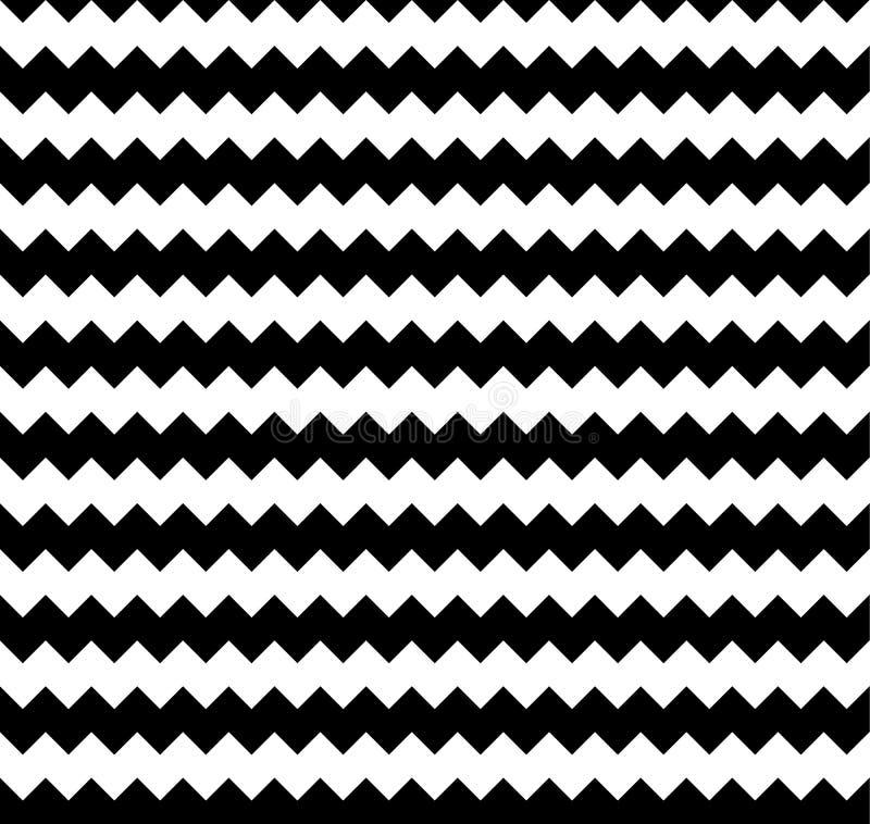 Gespannen foutloos herhaalbaar zigzagpatroon Abstracte zwart-wit vector illustratie