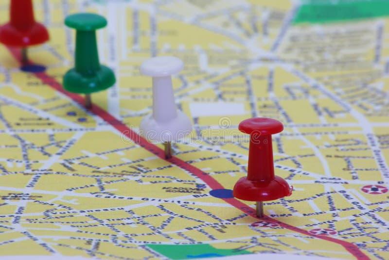 Gespelde route op kaart royalty-vrije stock fotografie