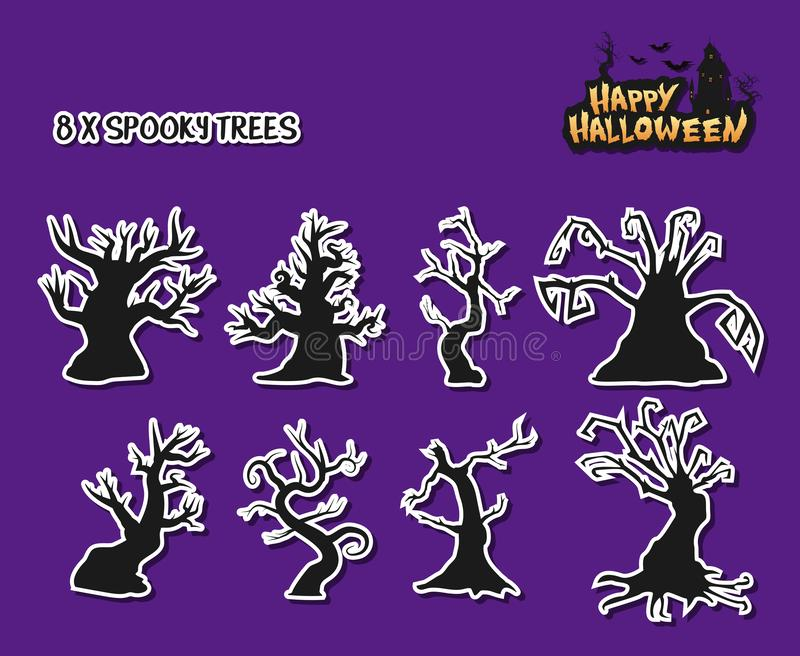 Gespenstische alte Bäume mit gruseligen Formen für Halloween Auch im corel abgehobenen Betrag lizenzfreie abbildung
