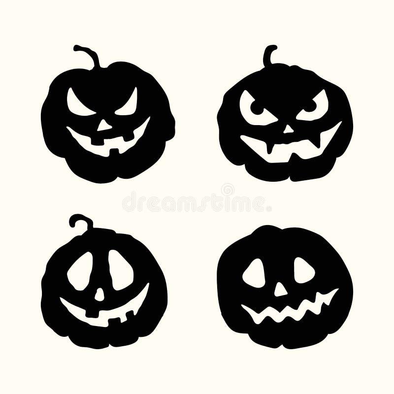 Gespenstische Gesichtskürbise Halloween-Schattenbildes eingestellt stock abbildung