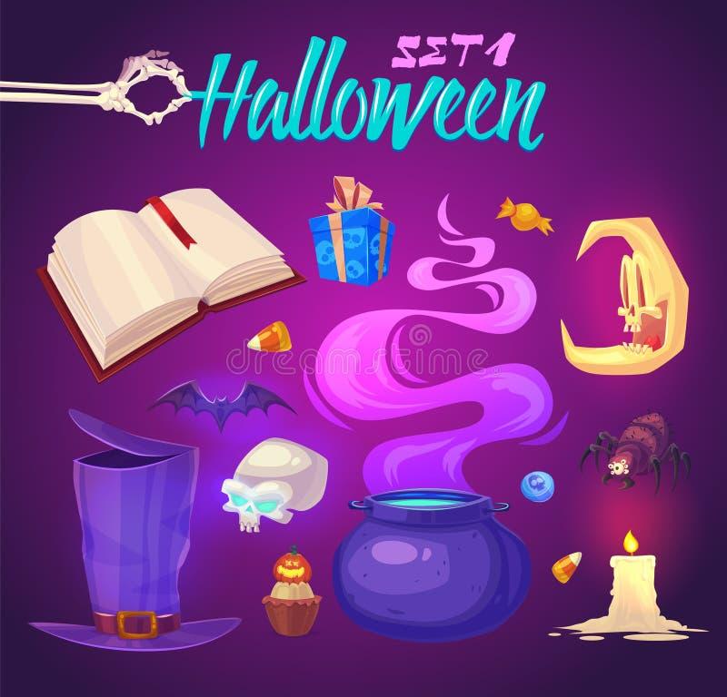 Gespenstische Halloween-Gegenstände Auch im corel abgehobenen Betrag lizenzfreie abbildung
