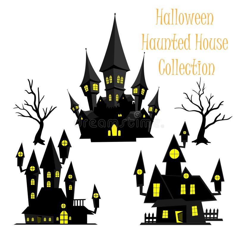 Gespenstische Halloween-Geisterhaussammlung vektor abbildung