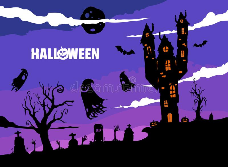 Gespenstische Halloween-Illustration mit altem Haus vektor abbildung