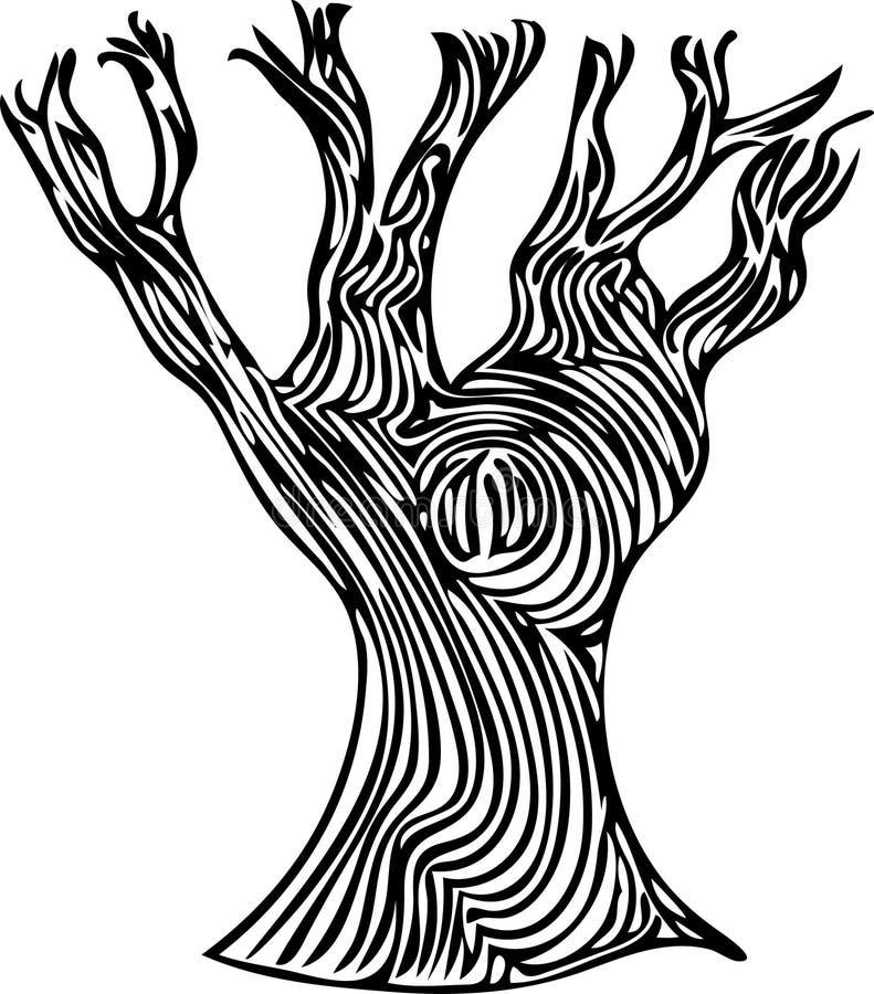 Gespenstische Linie Art Tree stockbild