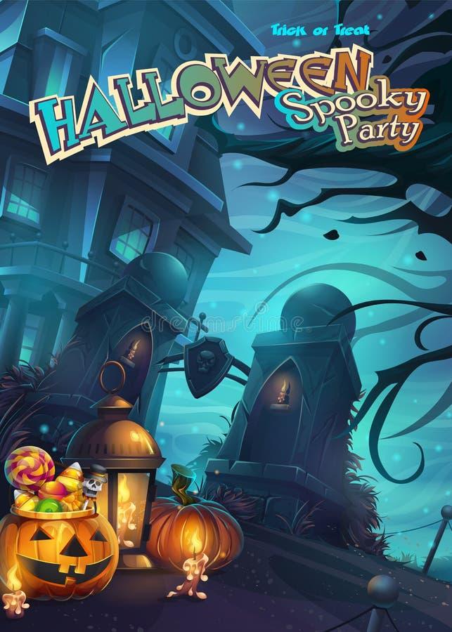 Gespenstische Partei Halloweens - vector Illustrationsmobileformat lizenzfreie abbildung