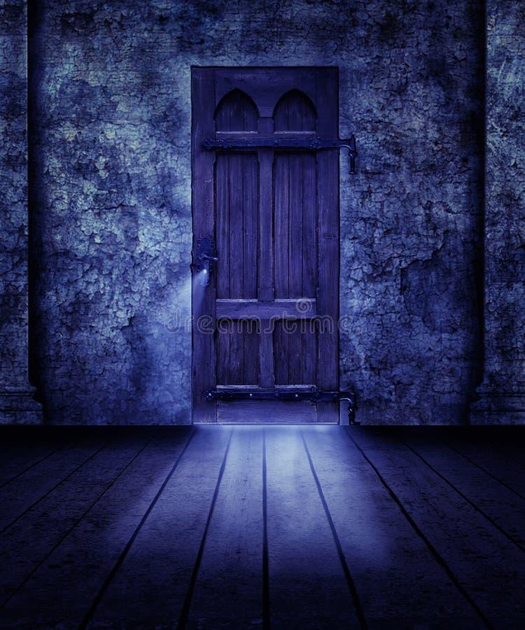 Gespenstische Tür stock abbildung