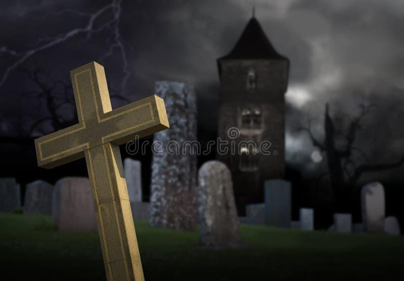 Gespenstischer Friedhof lizenzfreie abbildung