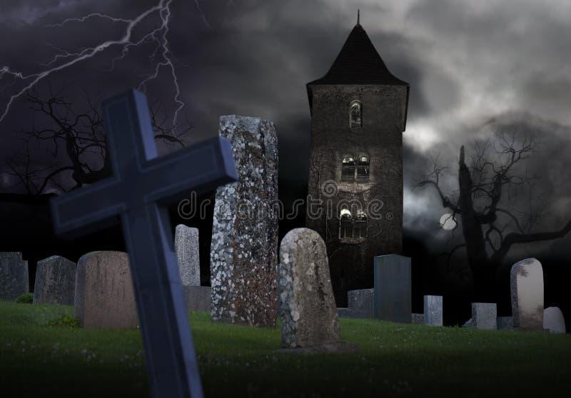Gespenstischer Friedhof stock abbildung