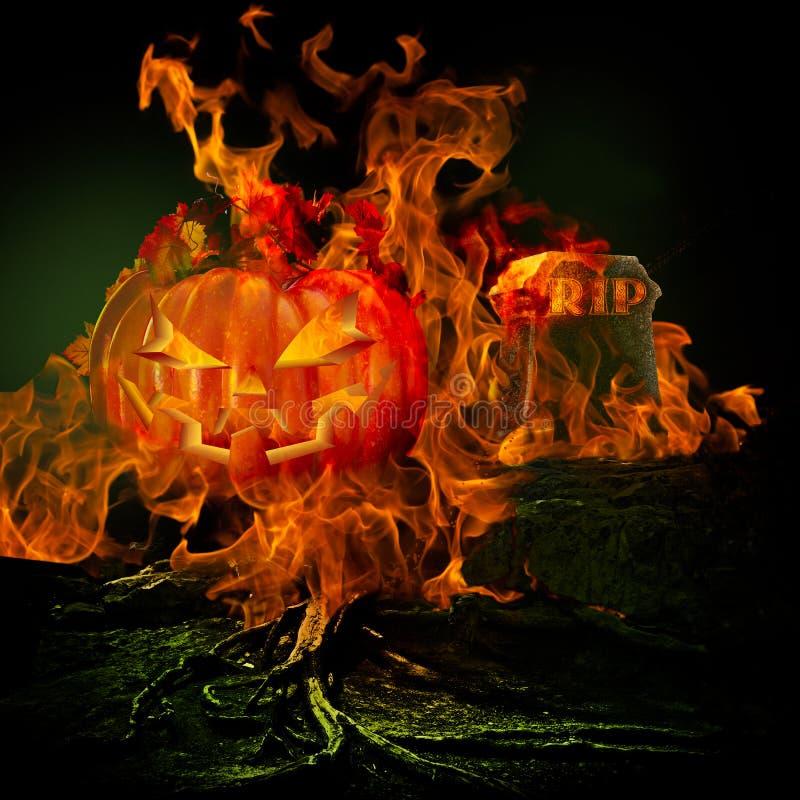 Gespenstischer furchtsamer Friedhof mit Feuer und Flammen Burining, die F versenken stockfotos