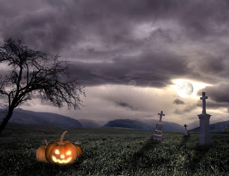 Gespenstischer Halloween-Friedhof mit Kürbis stockfotografie