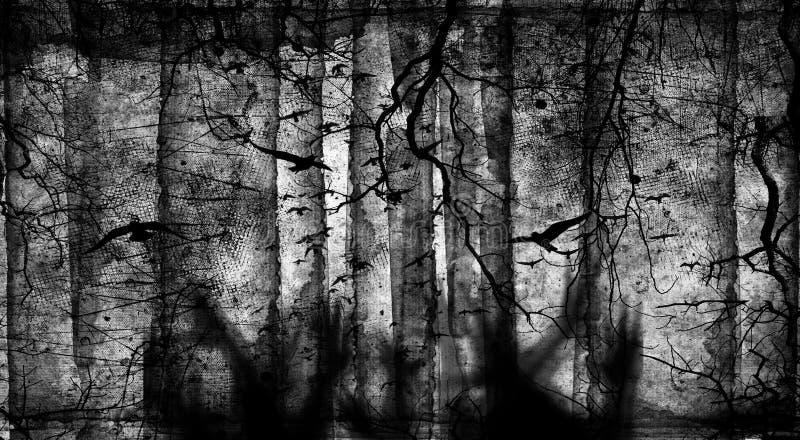 Gespenstischer Wald mit Fliegenvögeln, toten Bäumen, Spinnennetzen und Zombie überreicht Gräber, Halloween-Partei lizenzfreie abbildung