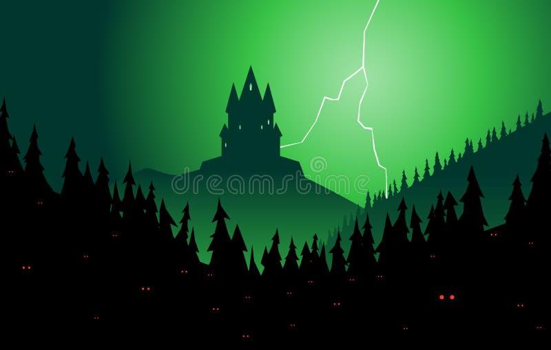 Gespenstischer Wald und Schloss lizenzfreie abbildung