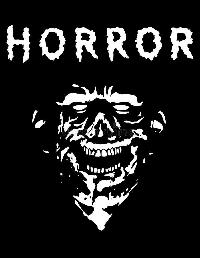 Gespenstischer Zombiekopf mit heftigem Gesicht Schwarzweiss-Farben Auch im corel abgehobenen Betrag vektor abbildung