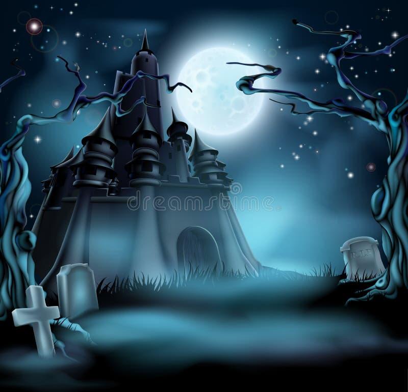 Gespenstisches Halloween-Schloss lizenzfreie abbildung