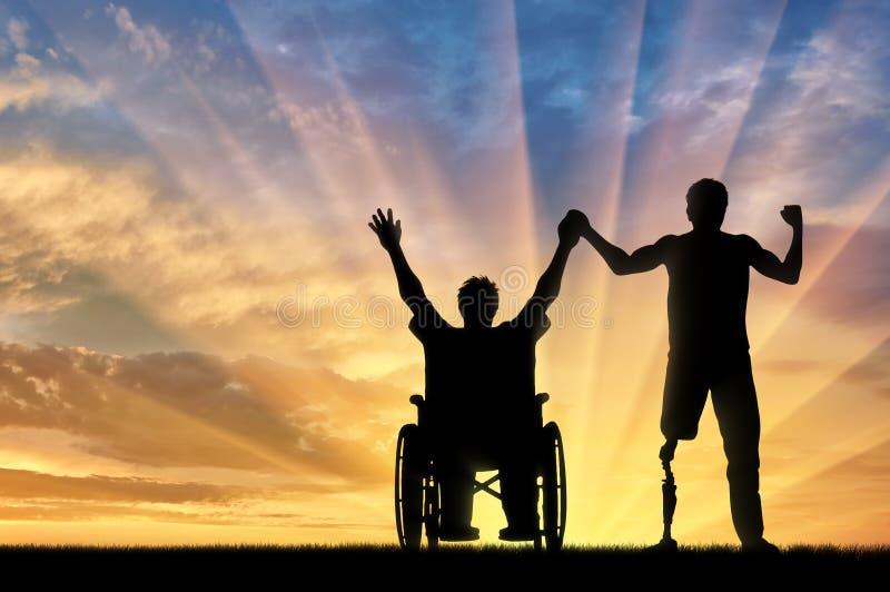 Gesperrt mit Prothese und im Rollstuhlhändchenhaltensonnenuntergang stock abbildung