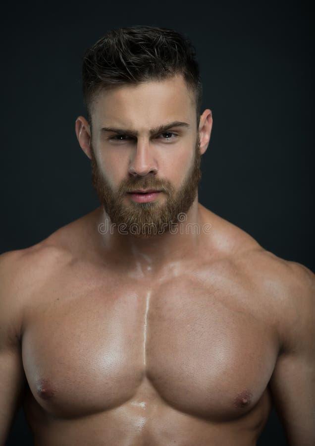 Gespierd mannelijk modelkonstantin kamynin stock afbeeldingen
