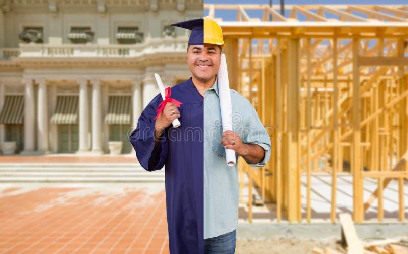 Gespleten het Scherm Mannelijke Spaanse Gediplomeerde in GLB en Toga aan Ingenieur in Bouwvakkerconcept stock foto