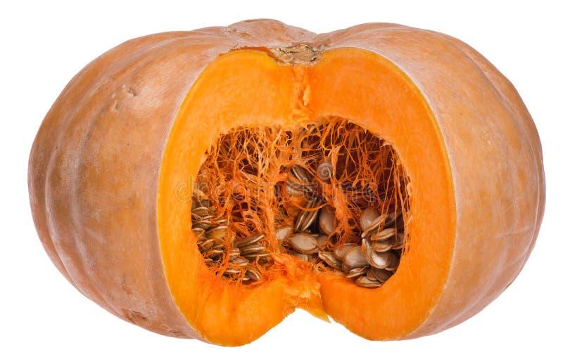Gespleten oranje die pompoen op wit wordt geïsoleerd stock fotografie