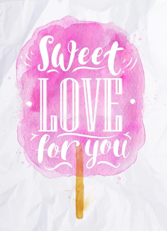 Gesponnen suiker zoete liefde vector illustratie