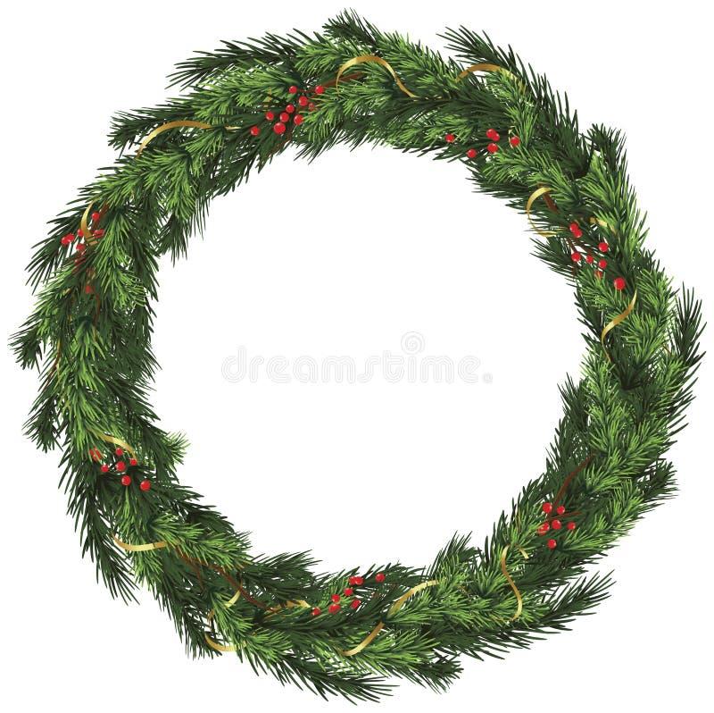 Gesponnener Wreath mit Goldfarbband und -beeren stock abbildung