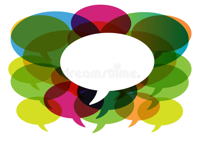 Gespräch in den Media der Farbensprache bubbles.social. vektor abbildung