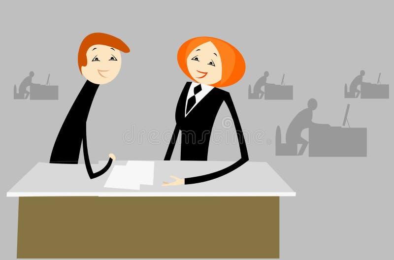 Gespräch im Büro lizenzfreie abbildung