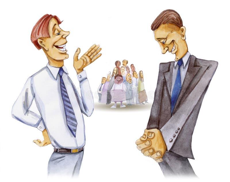 Gespräch mit zwei Rechtsanwälten lizenzfreie abbildung