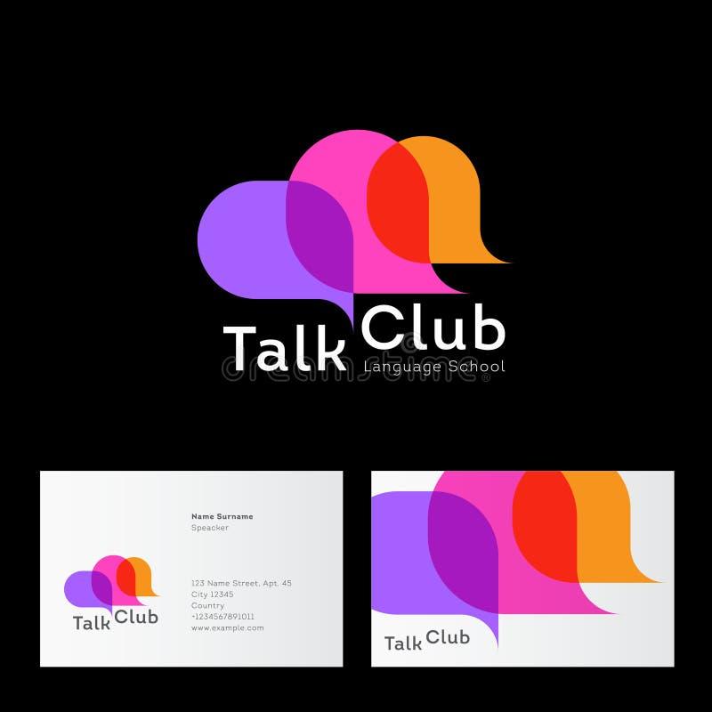 Gesprächs-Vereinlogo Sprachschullogo Unterhaltungsvereinikone Chat-Logo Gemeinschaftsemblem Mehrfarbige Blase drei vektor abbildung
