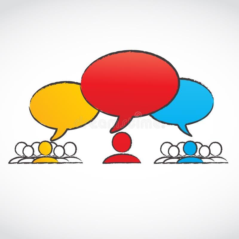 Gesprächsgruppen mit Spracheluftblasen lizenzfreie abbildung