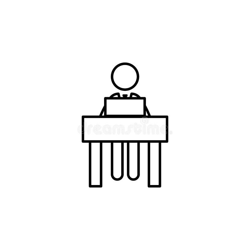 Gesprek, arbeider, laptop pictogram op witte achtergrond Kan voor Web, embleem, mobiele toepassing, UI, UX worden gebruikt stock illustratie