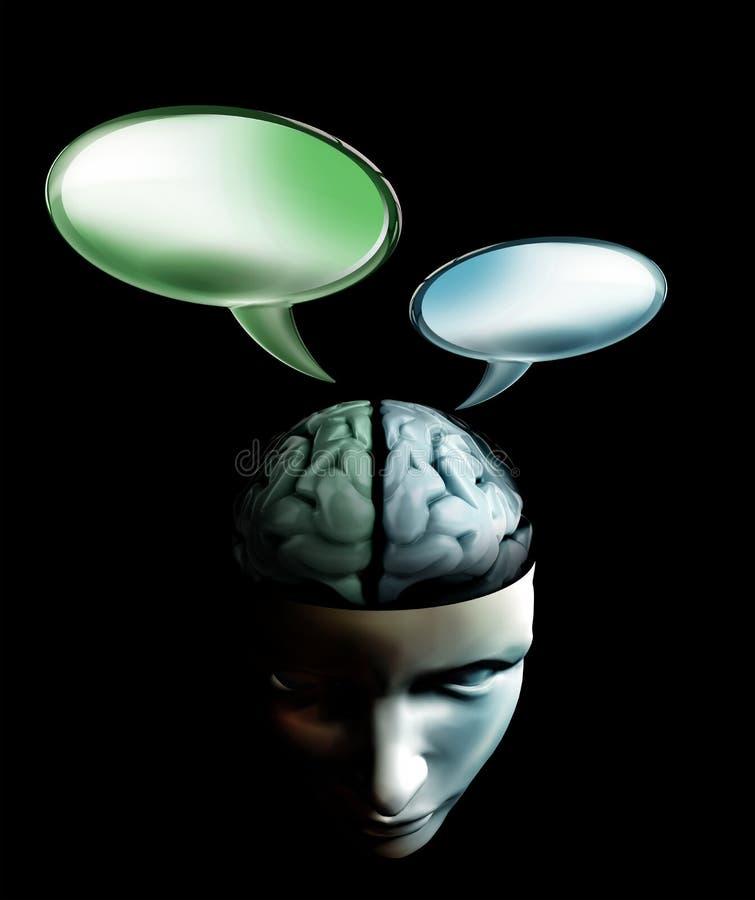 Gesprek binnen menselijk hersenenconcept stock afbeelding