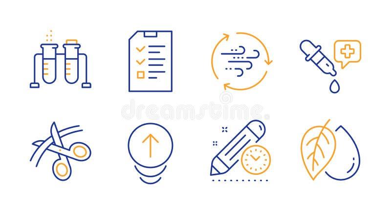 Gesprek, Chemiepipet en de pictogrammen geplaatst van de Projectuiterste termijn Jat omhoog, Windenergie en de tekens van de Chem stock illustratie