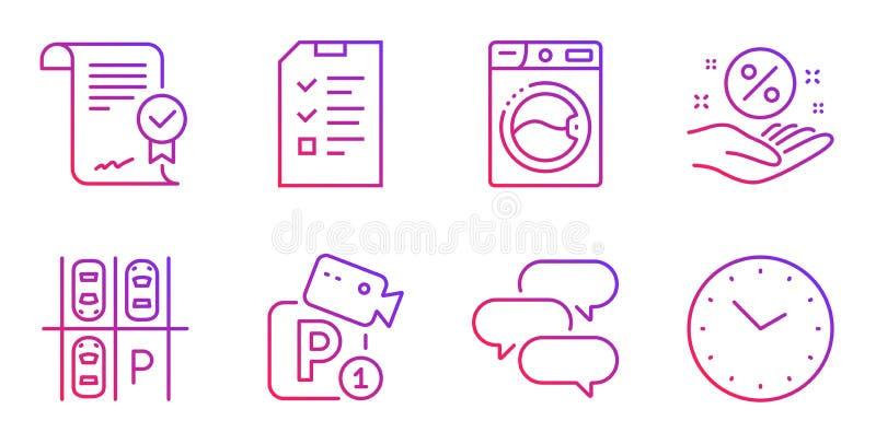 Gesprek, Goedgekeurde overeenkomst en de pictogrammen geplaatst van de Parkerenveiligheid Vector royalty-vrije illustratie