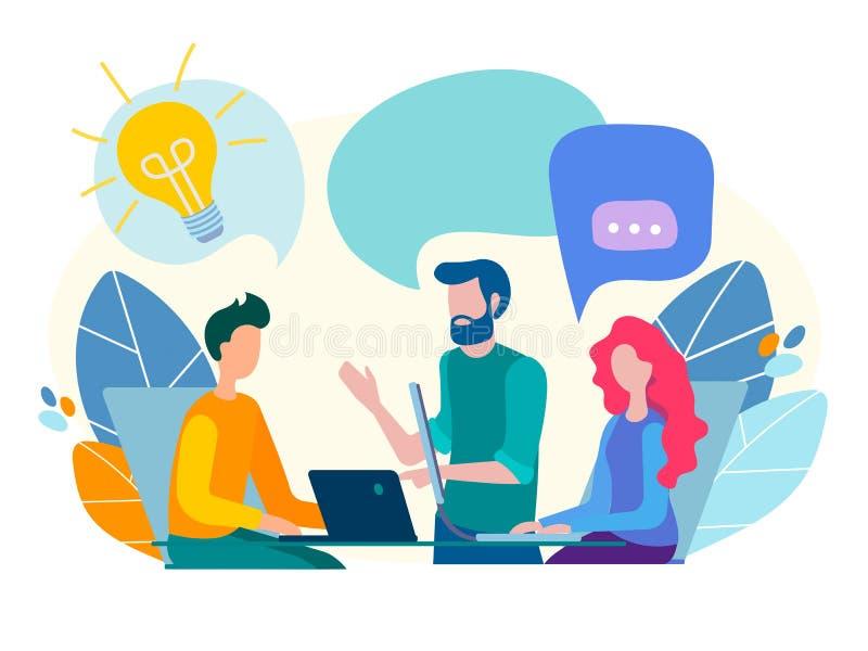 Gesprek, mededeling, bespreking in het bureau royalty-vrije illustratie