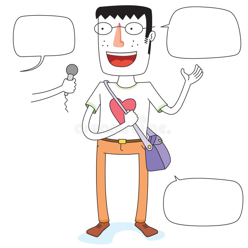 Gesprek met de jonge mens met schouwspel vector illustratie