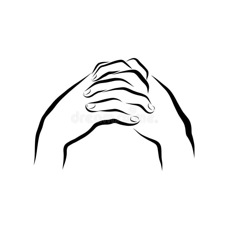 Gesprek met God, bescheiden gebed, zwart patroon royalty-vrije illustratie