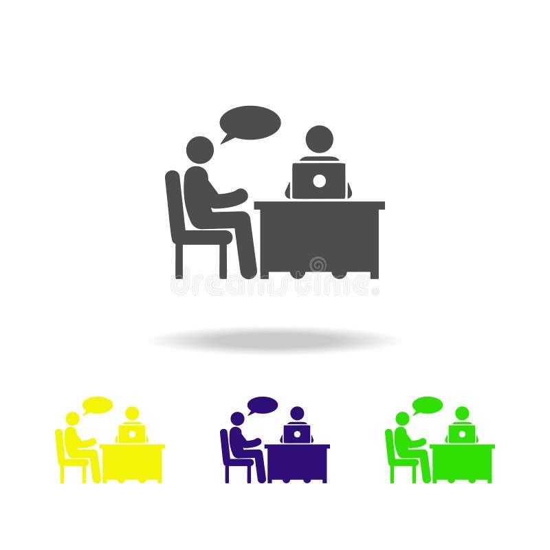 gesprek met het autoriteiten pictogram Element van collega'spictogram voor mobiel concept Gedetailleerd gesprek met de autoriteit stock illustratie