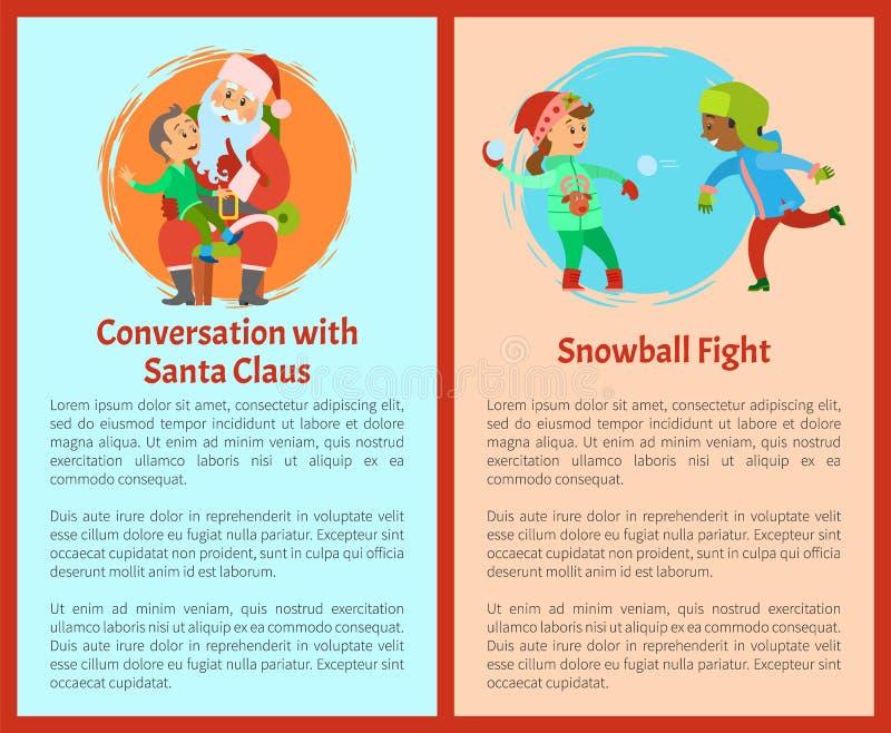 Gesprek met Kerstman, de Prentbriefkaaren van Sneeuwbalstrijden stock illustratie