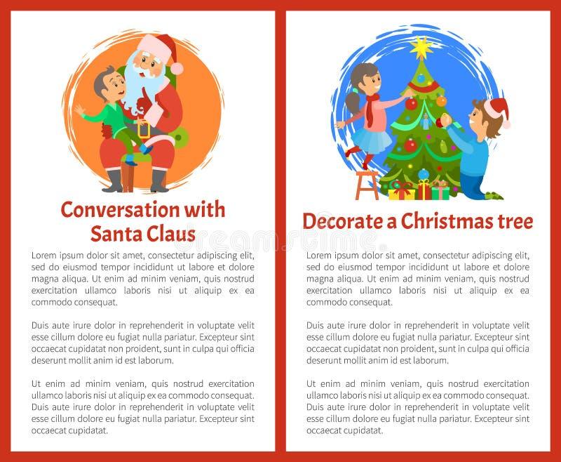 Gesprek met Kerstman, Decoratieve Kerstboom royalty-vrije illustratie