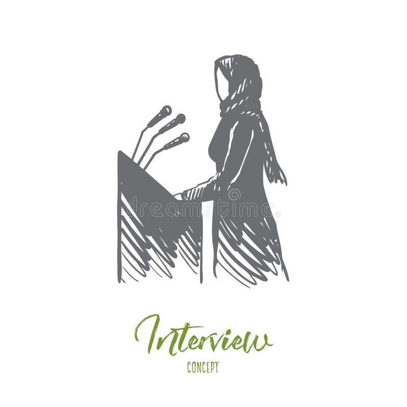 Gesprek, politiek, hijab, vrouw, spreker, Arabisch concept Hand getrokken geïsoleerde vector vector illustratie