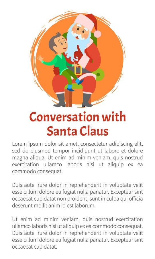 Gesprek Santa Vector Poster Vrolijke Kerstmis stock illustratie