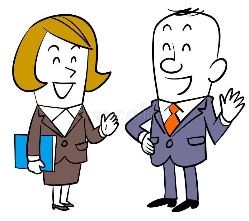 Gesprek tussen mannelijke werknemers en vrouwelijke werknemers vector illustratie