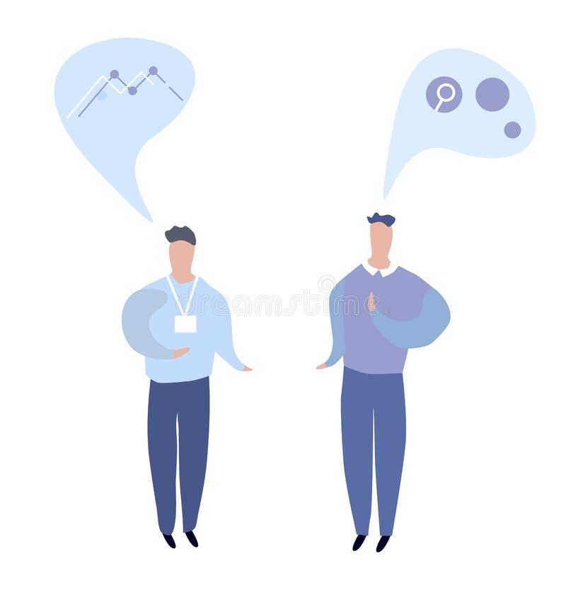 Gesprek van twee bedrijfsmensen Vlakke illustratie vector illustratie